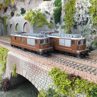 2 Locomotives Re 4/4 BLS/SEZ Ep IV digital son 3R-HO 1/87-RIVAROSSI HR2813ACS