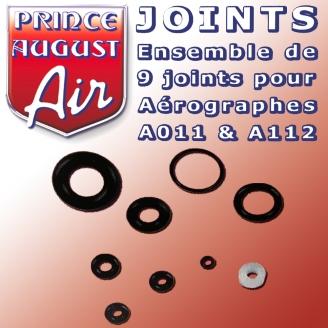 Set de 9 joints pour aérographes A112 / A011 - PRINCE AUGUST AA030