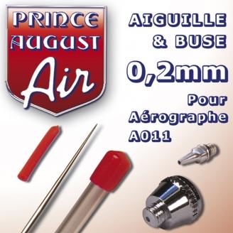 Aiguille & Buse 0,2 pour aérographe A011 - PRINCE AUGUST AA022