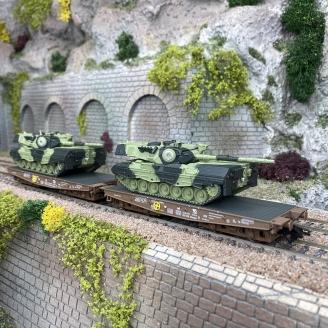 Wagons porte chars Slmms DSB Ep V + Léopard 1A5 (x2) - MARKLIN 48842 - HO 1/87