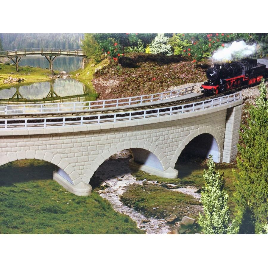 Pont à arc courbe 1 voie en maçonnerie-N-1/160-KIBRI 37662