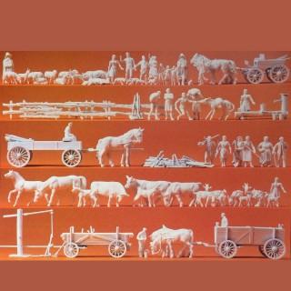 60 figurines à peindre pour la ferme-HO-1/87-PREISER