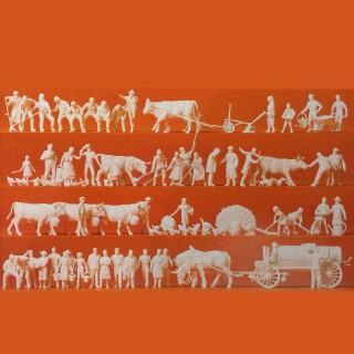 102 figurines à peindre travaux agricole-HO-1/87-PREISER