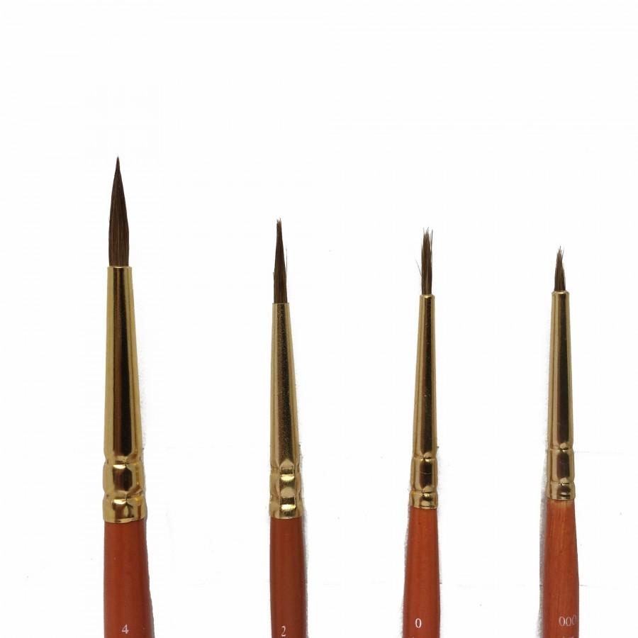 4 pinceaux poils fins 000, 0, 2, 4 pour maquette-HUMBROL