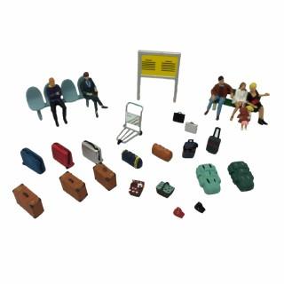 Accessoires de gare et voyageurs assis-HO-1/87-NOCH