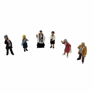 6 personnages sortie d'église-HO-1/87-Noch