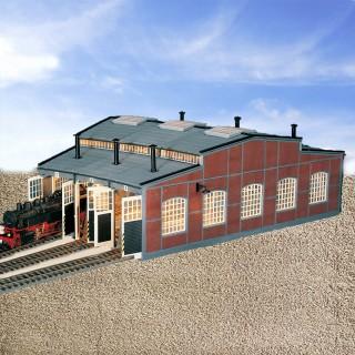 Rotonde remise circulaire pour 3 locomotives-HO-1/87-FLEISCHMANN
