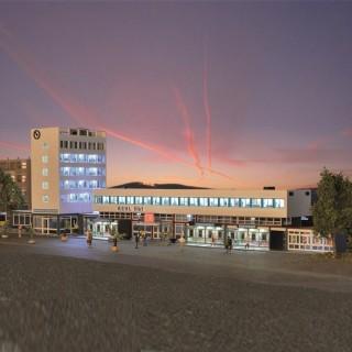 Grande gare de ville avec éclairage led-HO-1/87-KIBRI