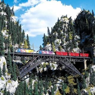 Grand pont métallique 2 voies droit-HO-1/87-FALLER 120535