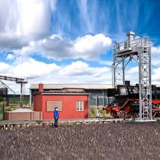 Station de sablage avec batiment-HO-1/87-KIBRI