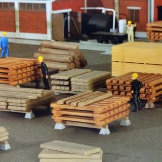 Set de planches et poutres décor-HO-1/87-KIBRI