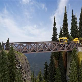 Pont droit à colombages acier 1 voie-HO-1/87-KIBRI