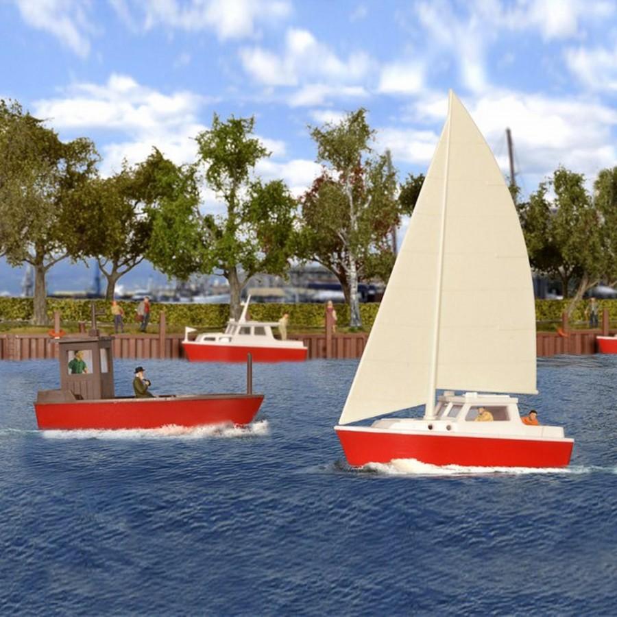 4 petits bateaux pour plan d'eau-HO-1/87-KIBRI 39160