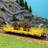 Wagon plat avec touret câble pour caténaires-HO-1/87-KIBRI