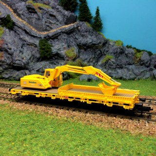 Wagon plat avec pelleteuse de travail-HO-1/87-KIBRI