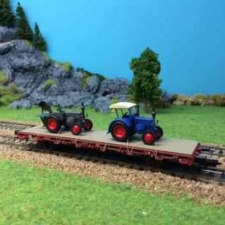 Wagon plat avec 2 tracteurs-HO-1/87-KIBRI 26252
