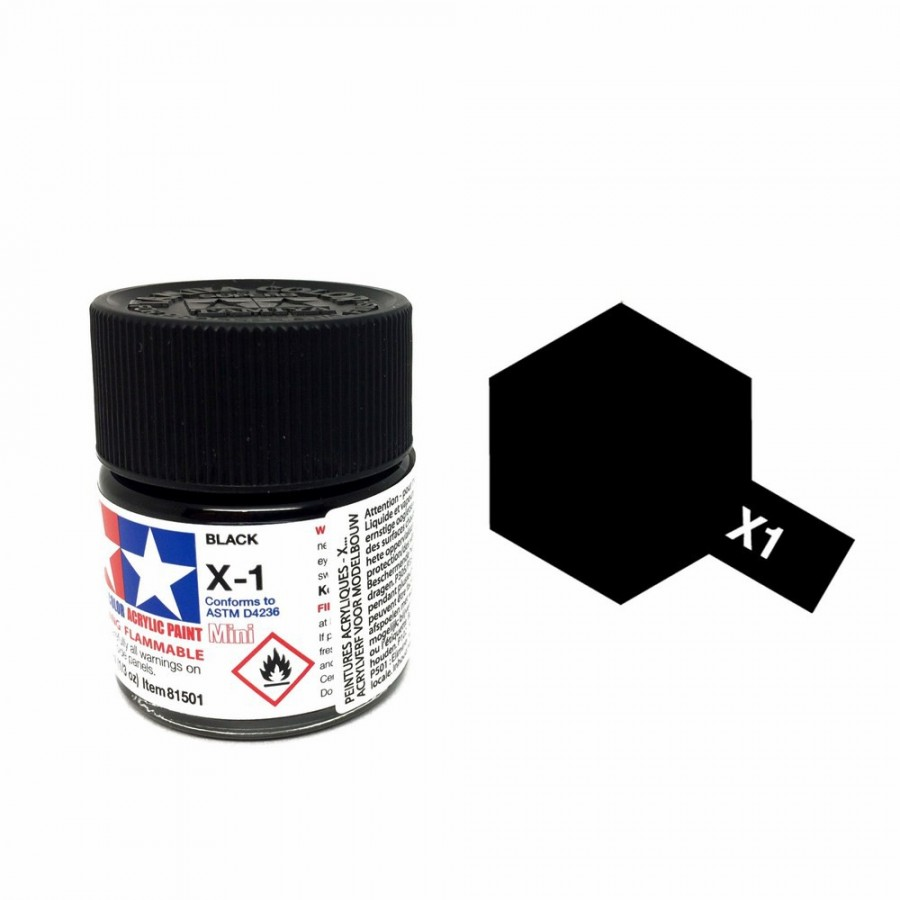 Noir brillant pot de 10ml-TAMIYA X1
