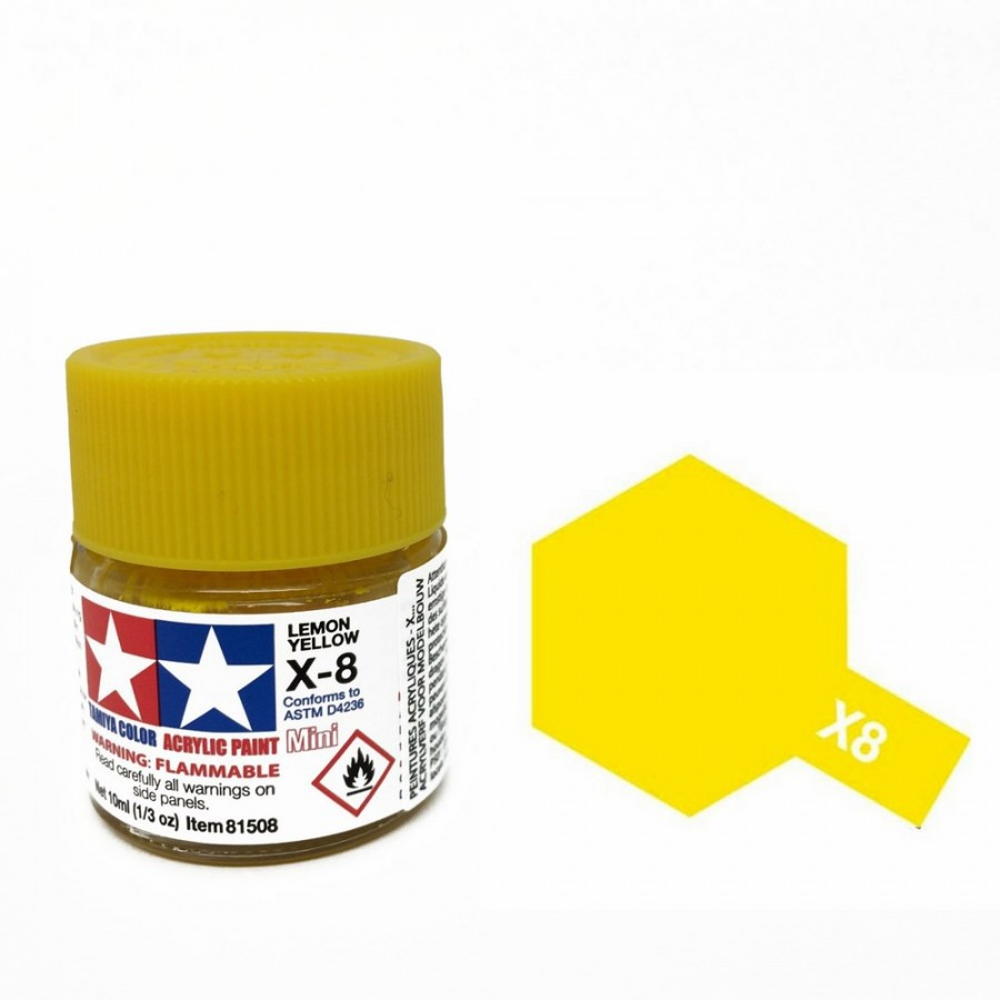 Jaune citron brillant pot de 10ml-TAMIYA X8