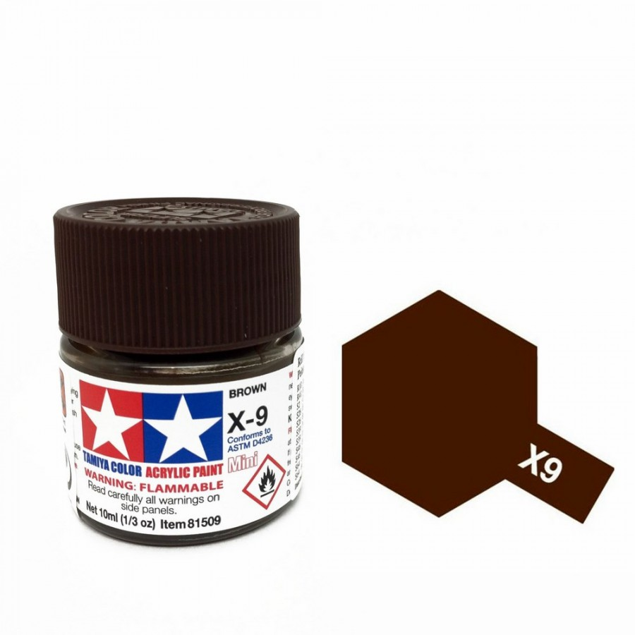 Marron brillant pot de 10ml-TAMIYA X9