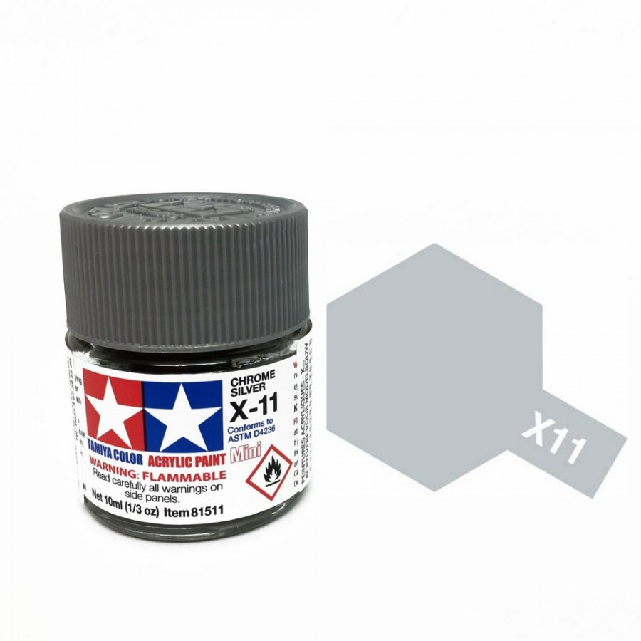 Chrome argenté brillant pot de 10ml-TAMIYA X11