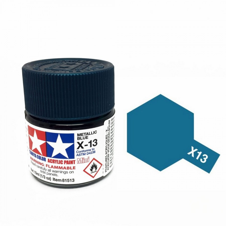 Bleu métal brillant pot de 10ml-TAMIYA X13
