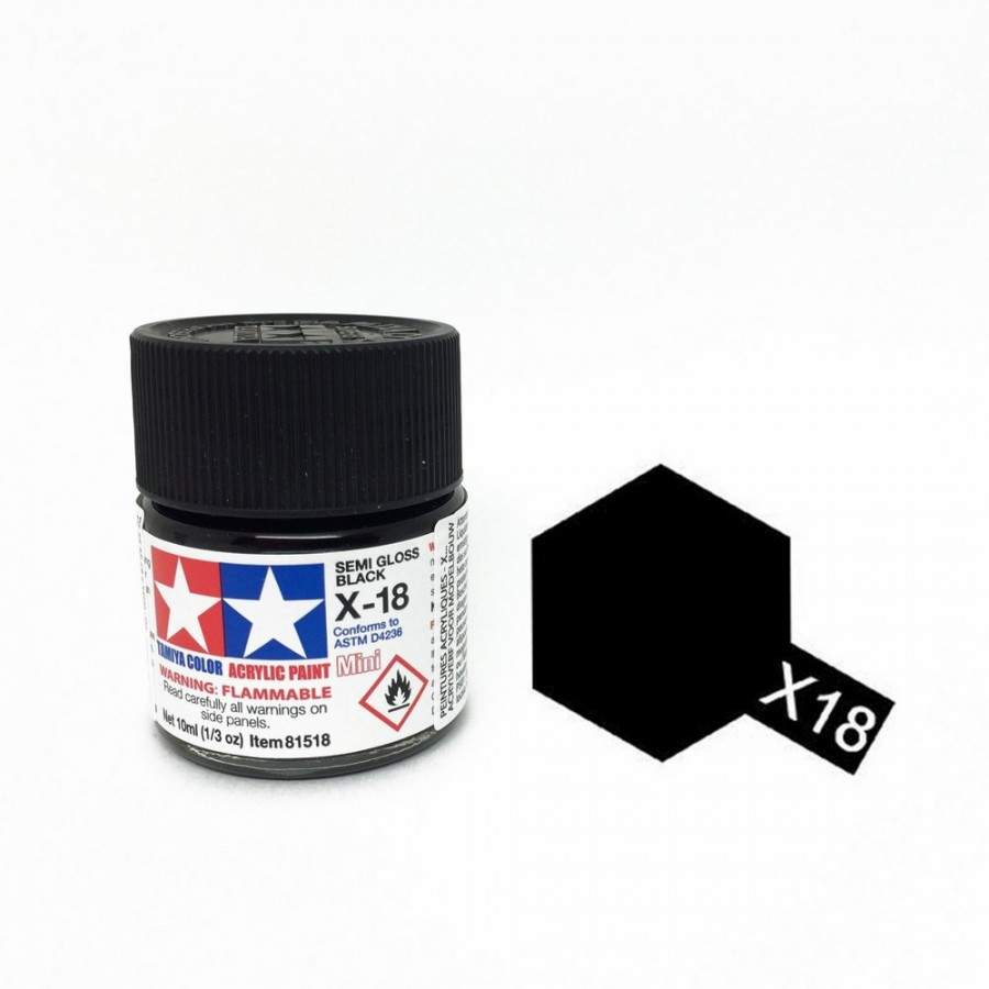 Noir satiné pot de 10ml-TAMIYA X18