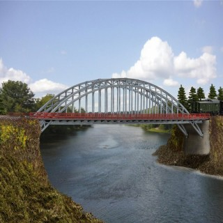 Pont droit métallique 1 ou 2 voies-N-1/160-KIBRI 37669