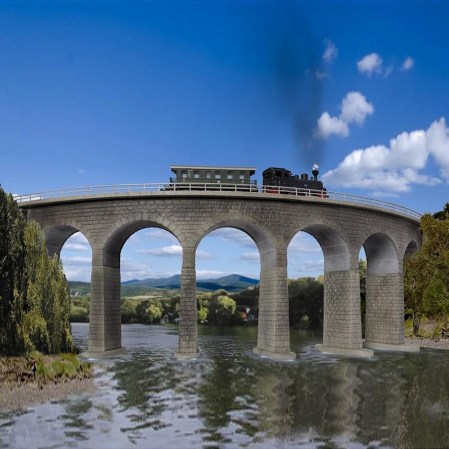 Pont courbe maçonné 1 voie-N-1/160-KIBRI 37665