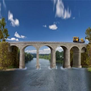Viaduc courbe une voie maçonné-HO-1/87-KIBRI 39726