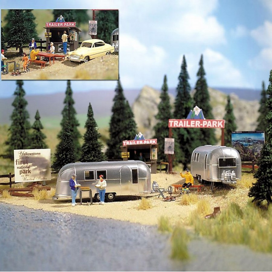 Set de 2 caravanes américaine avec accessoires-HO-1/87-BUSCH 1054