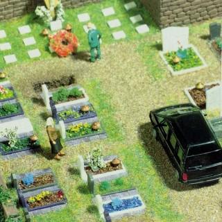 Cimetière avec véhicule et clôtures-HO-1/87-BUSCH 6049