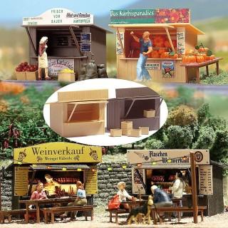 2 kiosques de vente-HO-1/87-BUSCH 1055