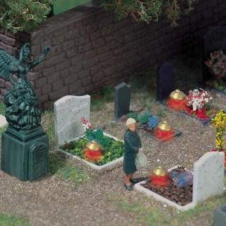 4 tombes avec éclairage et statut-HO-1/87-BUSCH 5404