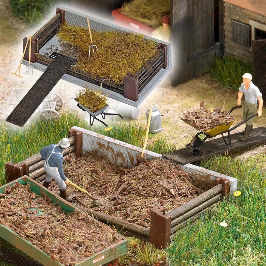 Bac à fumier avec accessoires pour votre ferme-HO-1/87-BUSCH 1526