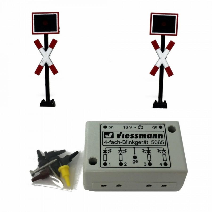 Set 2 feux à led pour passage ferroviaire avec relay électronique-HO-1/87-VIESSMANN 5060