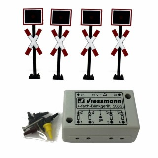 Set 4 feux à led pour passage ferroviaire avec relay électronique-HO-1/87-VIESSMANN 5835
