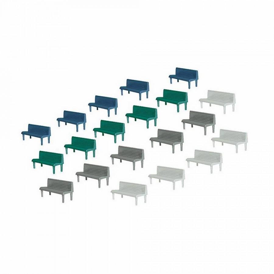 20 bancs dans 4 couleurs-HO-1/87-FALLER 180441