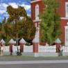 Clôture maçonnée avec barrière-HO-1/87-KIBRI 38630
