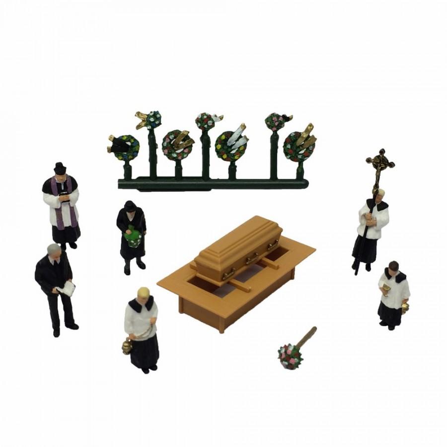 Set figurine pour enterrement cimetière-HO-1/87-PREISER 10520
