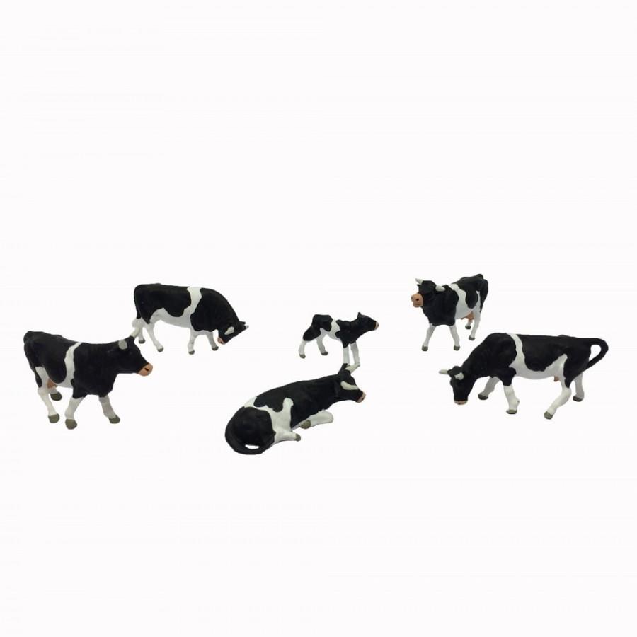 6 vaches taches noires et blanches-HO-1/87-PREISER 10145