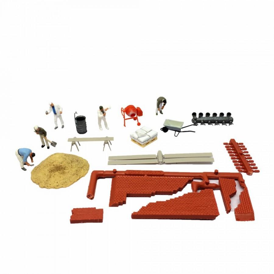 Set figuriens et accessoires de travaux maçonnerie-HO-1/87-PREISER 10542