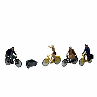 4 cyclistes et une remorque à vélo-HO-1/87-PREISER 10507
