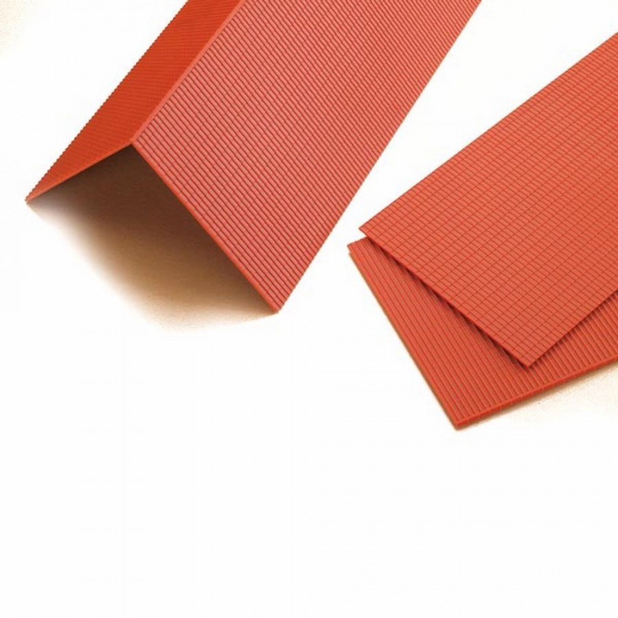 4 plaques de toit tuiles mécaniques rouges-HO-1/87-AUHAGEN 41611