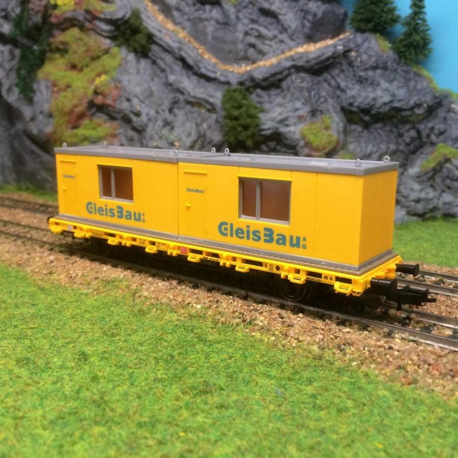 Wagon plat 2 conteneurs de chantier entretien des voies -HO-1/87-KIBRI 26268