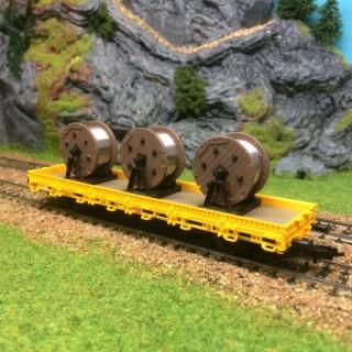 Wagon plat 3 tourets de caténaires entretien des voies -HO-1/87-KIBRI 26269