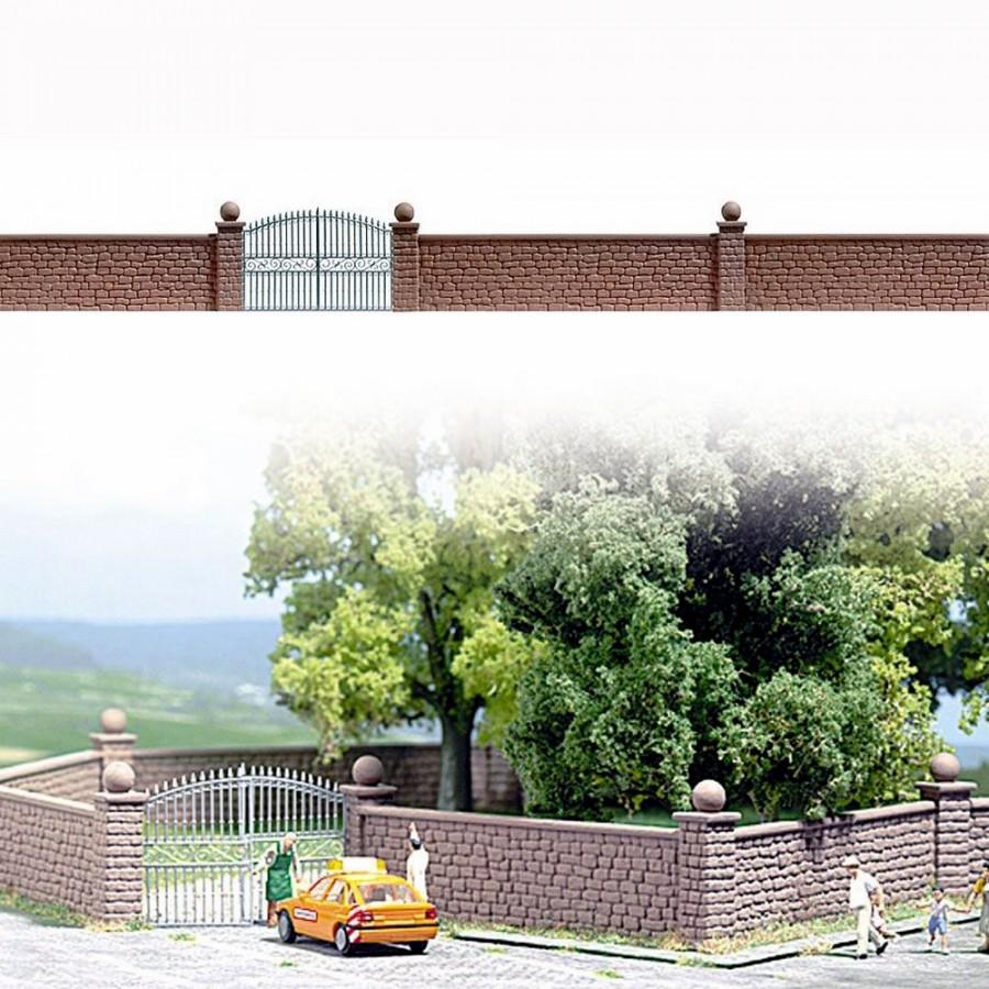 80cm de mur maçonné en pierre avec portail fer forgé-HO-1/87-BUSCH 6014