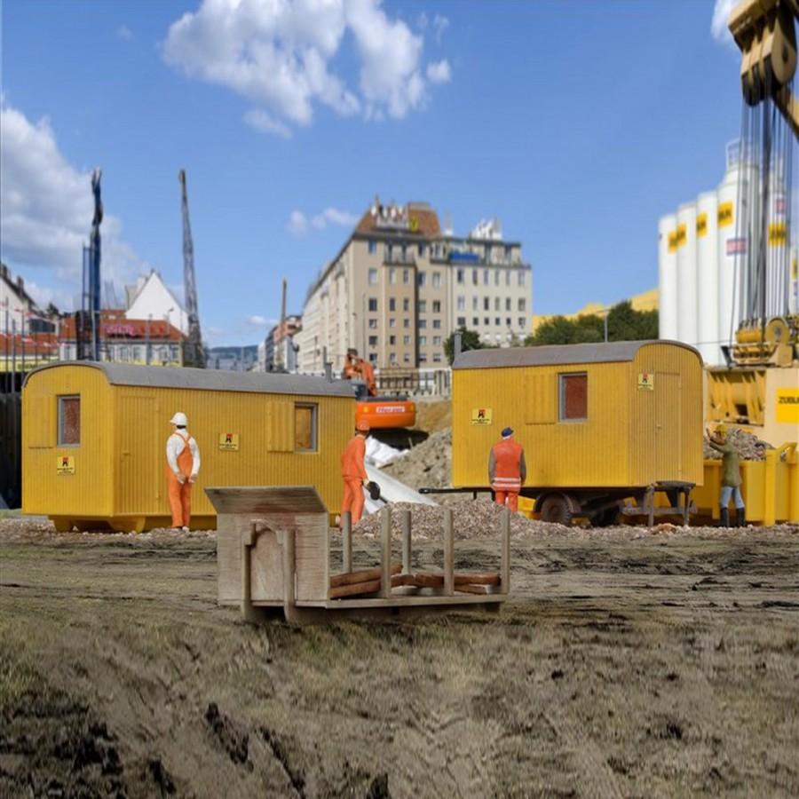 3 bennes de chantier pour camion -HO-1/87-KIBRI 15700
