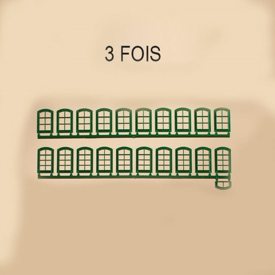 63 fenêtres vertes pour maquette-HO-1/87-AUHAGEN  80209