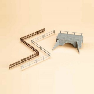 Petit pont en pierre avec barrière-HO-1/87-AUHAGEN 42555