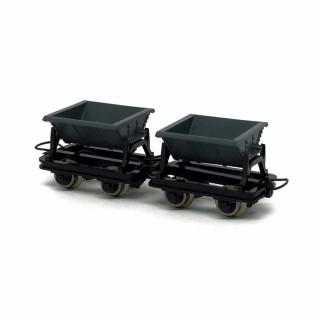 2 wagonnets de mine  -HOe-1/87-ROCO 34600